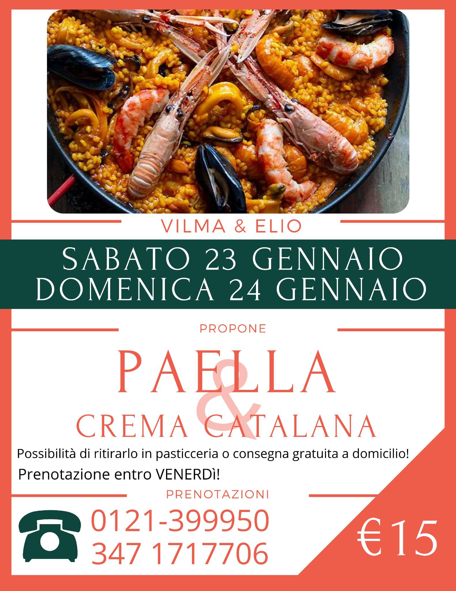 Sabato 23 e Domenica 24 gennaio: Paella e crema catalana